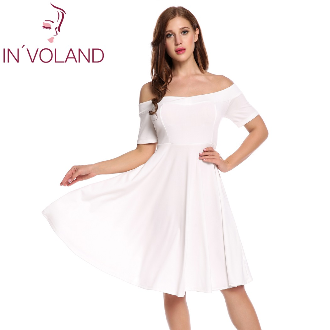 IN'VOLAND Női Vintage Retro ruha Nagy méretű Secy Off váll Rövid - Női ruházat