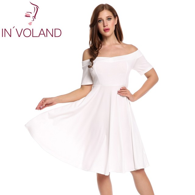 c34eee4931 IN VOLAND Women Vintage Retro Dress Big Size Secy Off Shoulder Short Sleeve  Vestidos Solid Party Swing Party Dresses Plus Size