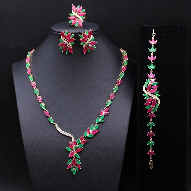 Gorgeous Jewelry Red Cubic Zirconia Green CZ Necklace Earrings Ring Bracelet Set Wedding Party Accessories For Women