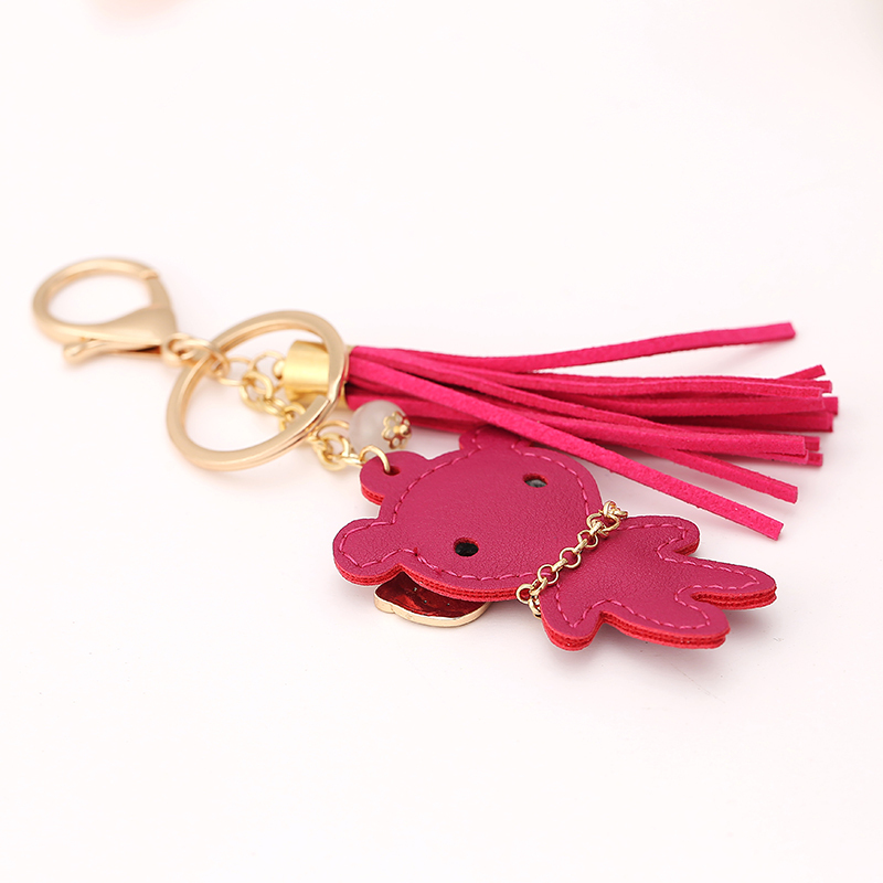 Novelty Rhinestone Leather Bear Tassel Pendant Keychain Fashion Creative Car Key Chain Ring Charm Women Bag Decoration Gift R193