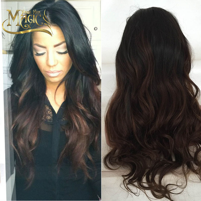 Glueless full lace human hair wigs lace front wig two tone body wave cheap Brazilian virgin human hair wigs for black women SALE