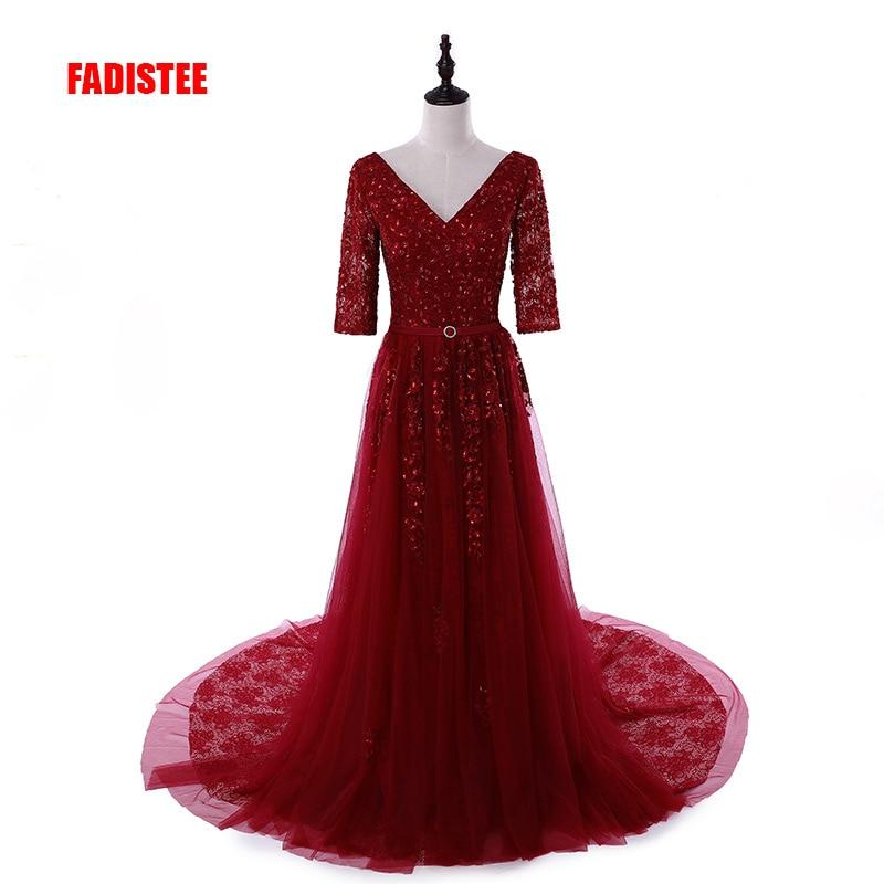 FADISTEE New arrival elegant party   dress     evening     dresses   Vestido de Festa appliques gown half sleeves luxury crystal beading
