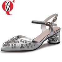 ZVQ Sheepskin Women Wedding 5 cm high heels Shoes summer Fashin Sexy Solid silver Crystal Genuine Leather Buckle Strap Sandals