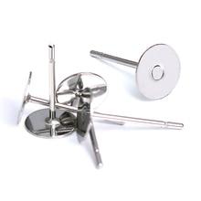 Фотография 100pcs/lot 304 Stainless Steel Flat Round Blank Peg & Post Ear Studs Jewelry Findings,12mm Long,Pad:3/4/5/6/8/10/12mm,Pin:0.4mm