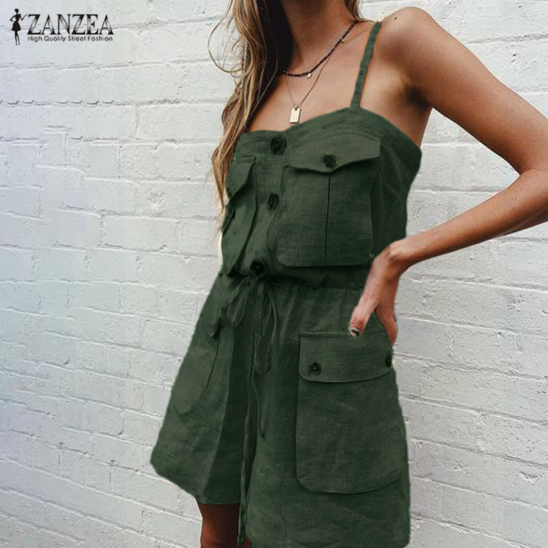 S 5XL ZANZEA Cotton Short Jumpsuits 2019 Women Shorts Overalls Summer Fashion Sleeveless Solid Party Rompers Pants Playsuits