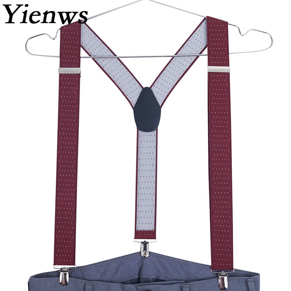 Yienws Burgundy Suspenders For Men 3 Button Commercial Weastern Style Trousers Brace Strap 120cm Tirantes Hombre YiA023