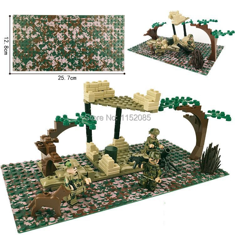 2pcs lot 16 32 Camouflage Pixel Baseplate Building Bricks Base Plate Compatible with Major Brand 2017