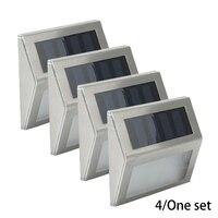 4 Uds. Luces Solares LED decoración de jardín al aire libre Sensor de acero inoxidable luz solar impermeable jardín escalera patio lámparas para Sendero