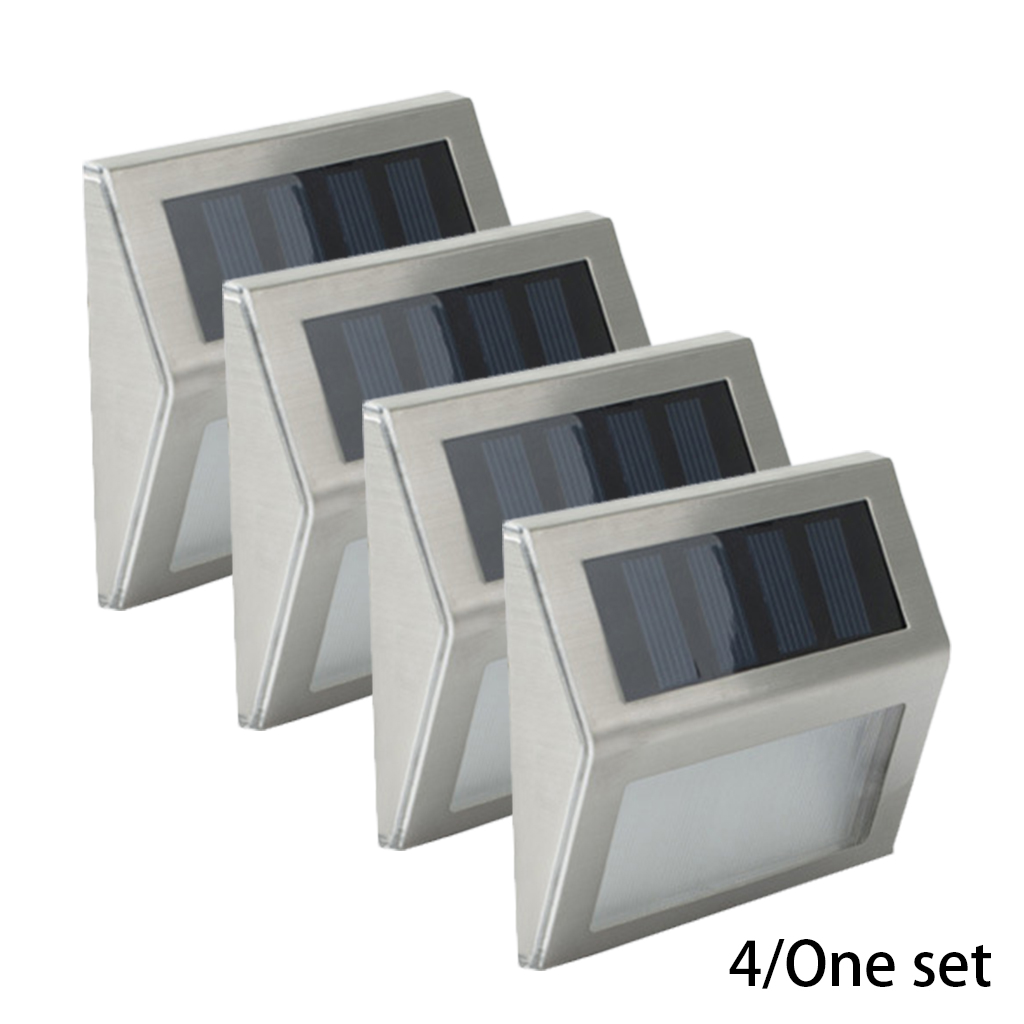 4pcs LED Solar Lights Outdoor Garden Decoration Stainless Steel Sensor Sunlight Waterproof Garden Stair Courtyard Pathway Lamps