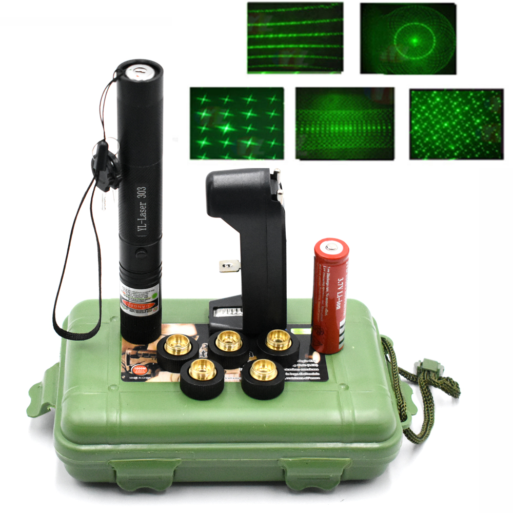 Green Laser Pointer Sight Laser 303 Pointer 10000m 532 nm Powerful device Adjustable Focus Lazer with Laser 303 Star Caps|Lasers| |  - title=