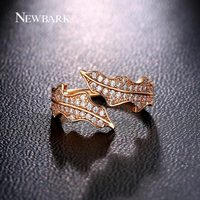 NEWBARK Newest Design Two Branch Leaves Rings Wedding Jewelry Ring For Women Open Adjustable CZ Diamond