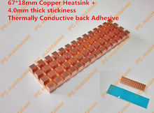 67*18mm Copper Heatsink+4.0mm Thermally Conductive Adhesive Thin Copper M.2 NGFF 2280 PCI-E NVME Solid State Disk SSD Radiator