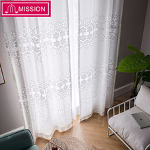 MISSION Decorative Semi Lace White Flora Sheer Curtain Tulle Voile Panel Window for Living Room Bedroom Door Custom Made