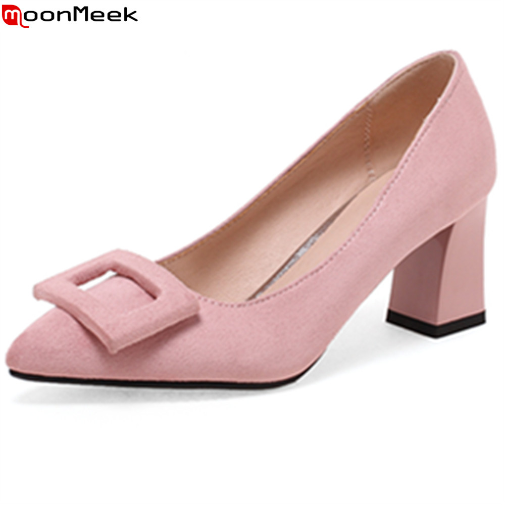 MoonMeek spring summer new arrive pumps women shoes high heels pointed toe shallow slip on pink black khaki colour  ladies shoes hot sale 2016 new fashion spring women flats black shoes ladies pointed toe slip on flat women s shoes size 33 43