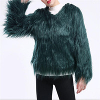 Europe and America autumn and winter long sleeve 3XL imitation fur jacket coat washed lamb hair fake fur jacket fashion coats