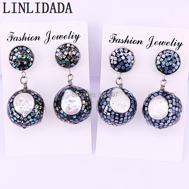 4Pair New Arrival Tiny Abalone Shell And Freshwater Pearl Round Ball Dangles Earrings Women Charm Earring