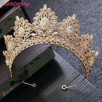 ZUANZHIBAO New Rhinestone Design Bridal Crown Big Champagne Tiara Party Prom Headband Crystal Diadem Wedding Hair Accessories
