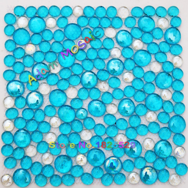 Penny Round Tile Blue Bubble Gl Tiles Shower Wall Panels