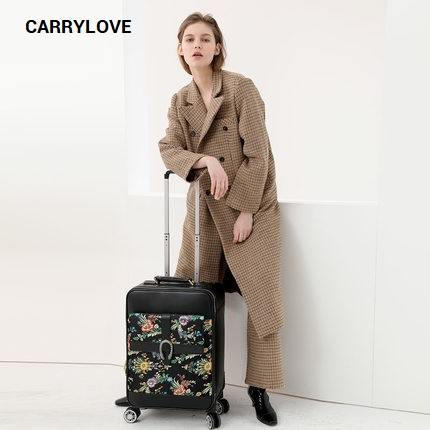 CARRYLOVE fashion luggage series 16/20/24 inch size Vintage embroidery PU Rolling Luggage Spinner brand Travel Suitcase цена