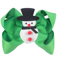 10 pcs christmas snowman hair bows 4 inch ribbon with alligator clip