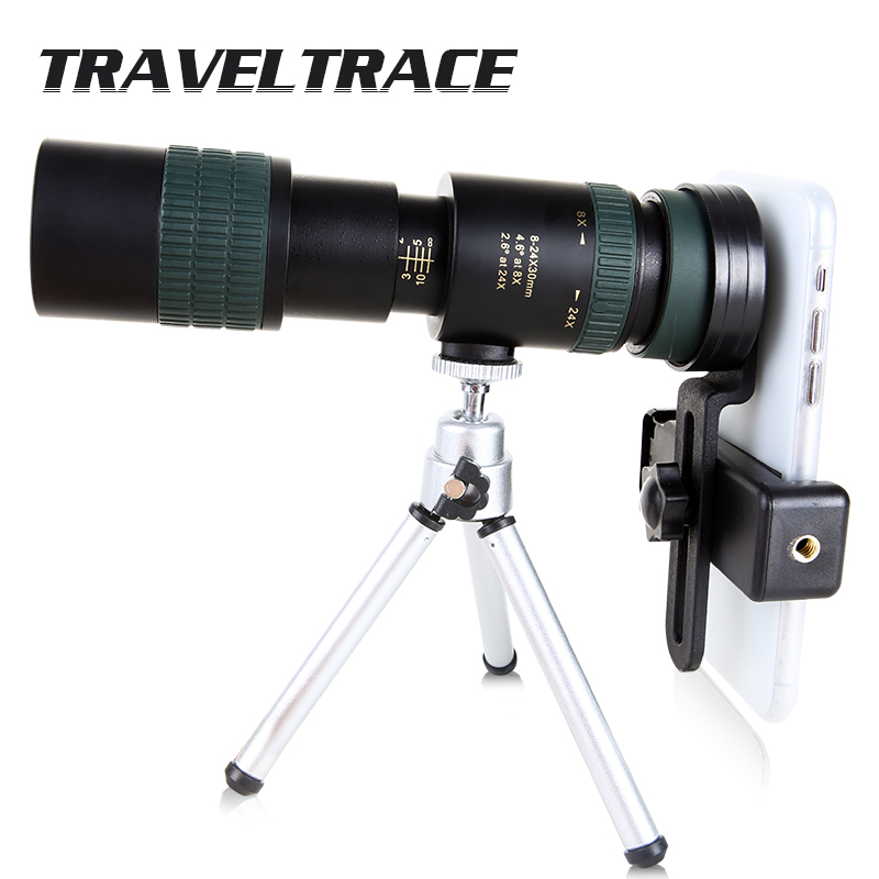 8-24x30 Scalable Zoom Telescope For Smartphone FMC BAK4 Prism Objective Lens Stretch Monocular Large Scope HD Eyepiece Hunting