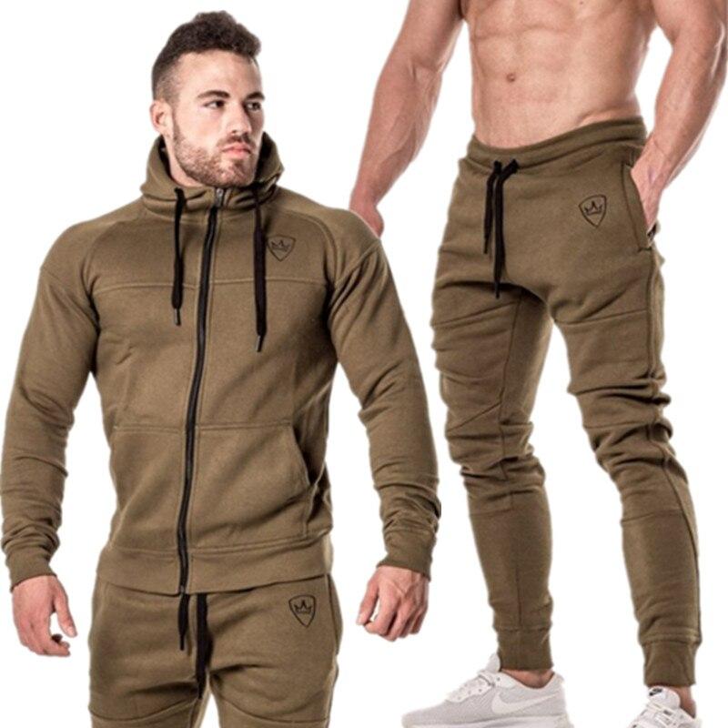 2 pièces Sping course ensemble manches longues col montant sweat Sport ensemble Gym vêtements hommes Sport costume entraînement costume Sport porter