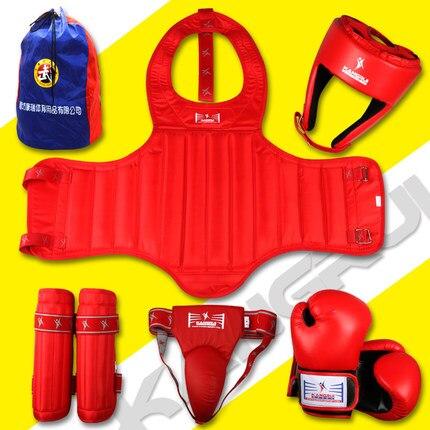 ФОТО Hot sale canvas bamboo a set of MMA protectors Taekwondo Karate legwarmers guards arm guard kick boxing Helmet protectors