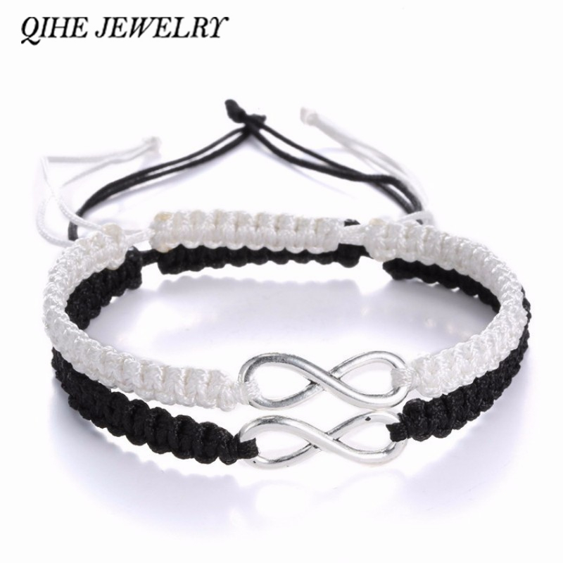 QIHE JEWELRY 2pcs Infinity Handmade <font><b>Bracelet</b></font> <font><b>Set</b></font> Friendship <font><b>Bracelet</b></font> <font><b>Set</b></font> Infinity Love Couples <font><b>Bracelet</b></font> <font><b>Set</b></font> Infinity Jewelry image