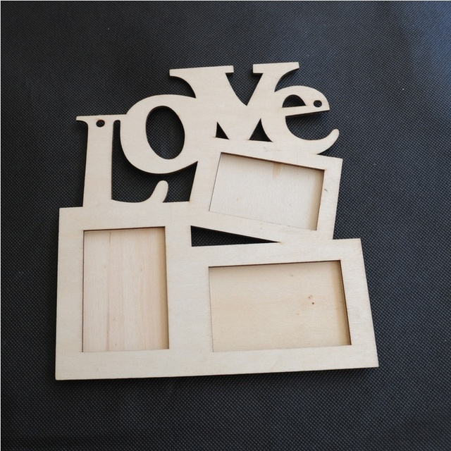 Hollow Love Letters Wooden 3 Photo Picture Frame Rahmen White Base