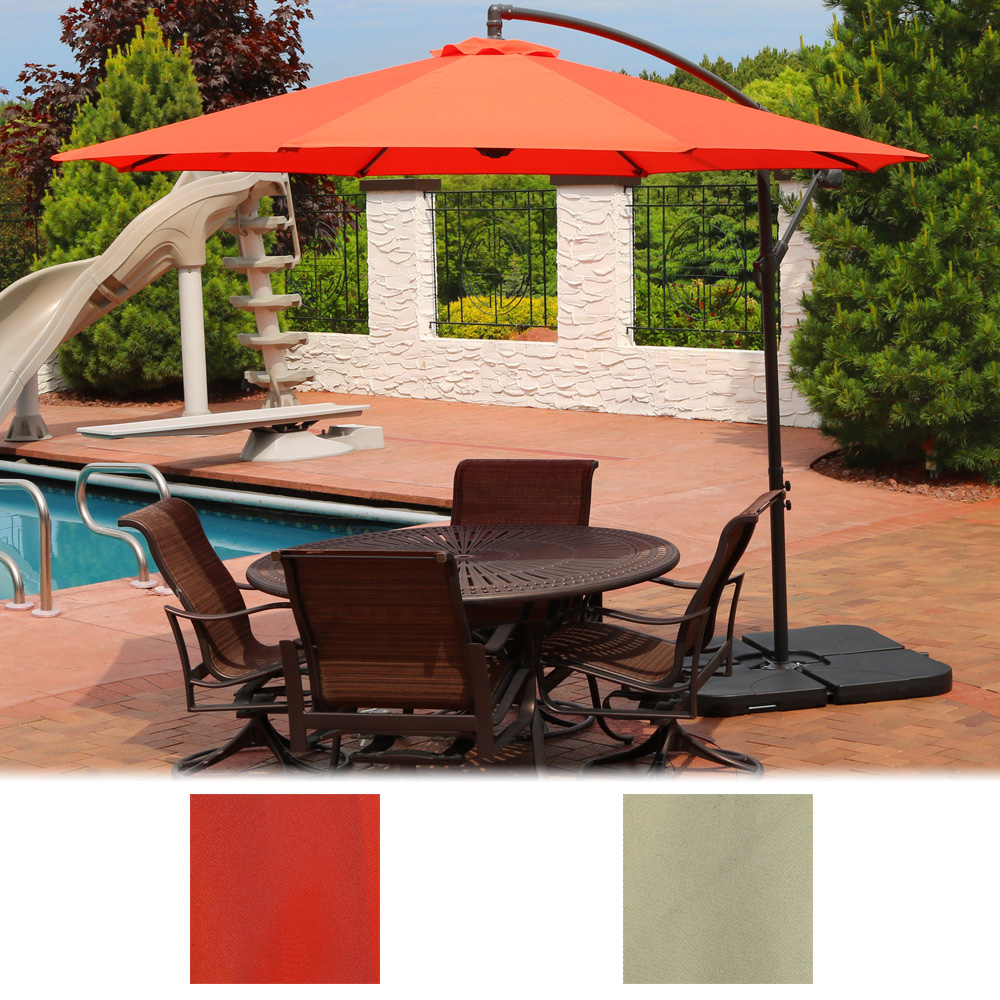 Sunnydaze Steel 10-Foot Offset Patio Umbrella with Cantilever, Crank, and Cross Base, 8 Steel Ribs