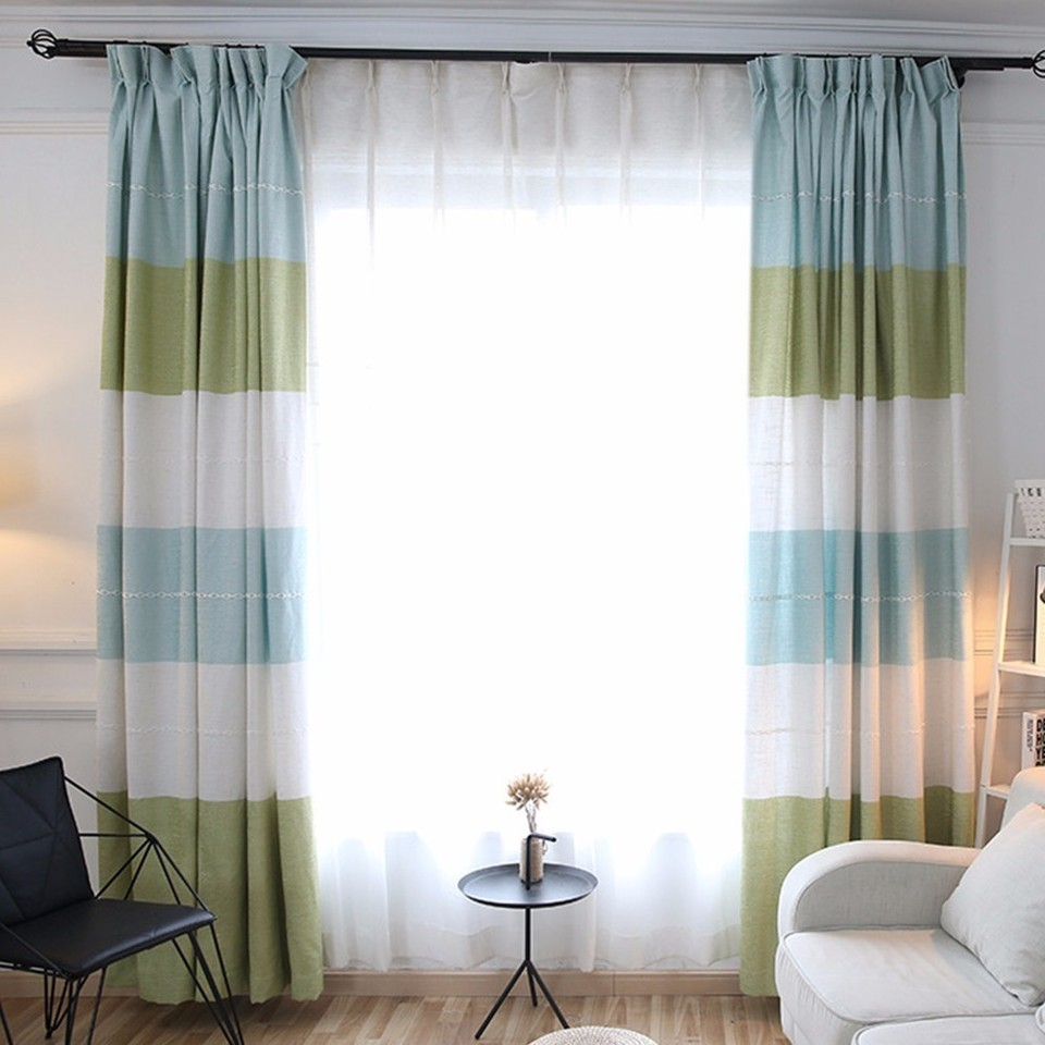 3 Color European Style Window Curtains Stripes For Living Room
