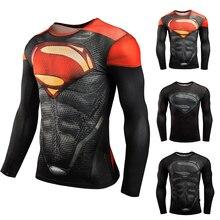 Superman Compression Shirt Super Dry Fit Running T-shirts Long Sleeve Sportswear Men Sport For Gym Rashgard 3d