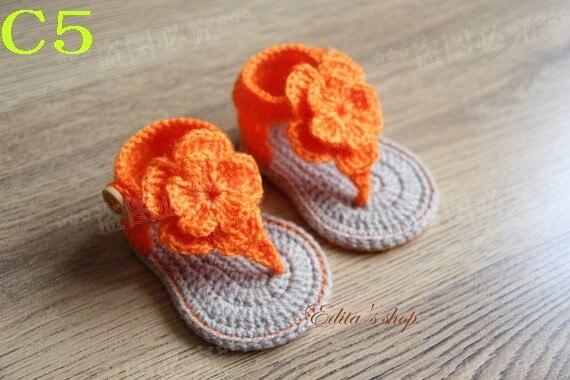 Versandkostenfrei Häkeln Baby Sandalen Baby Orange Blumen Flip