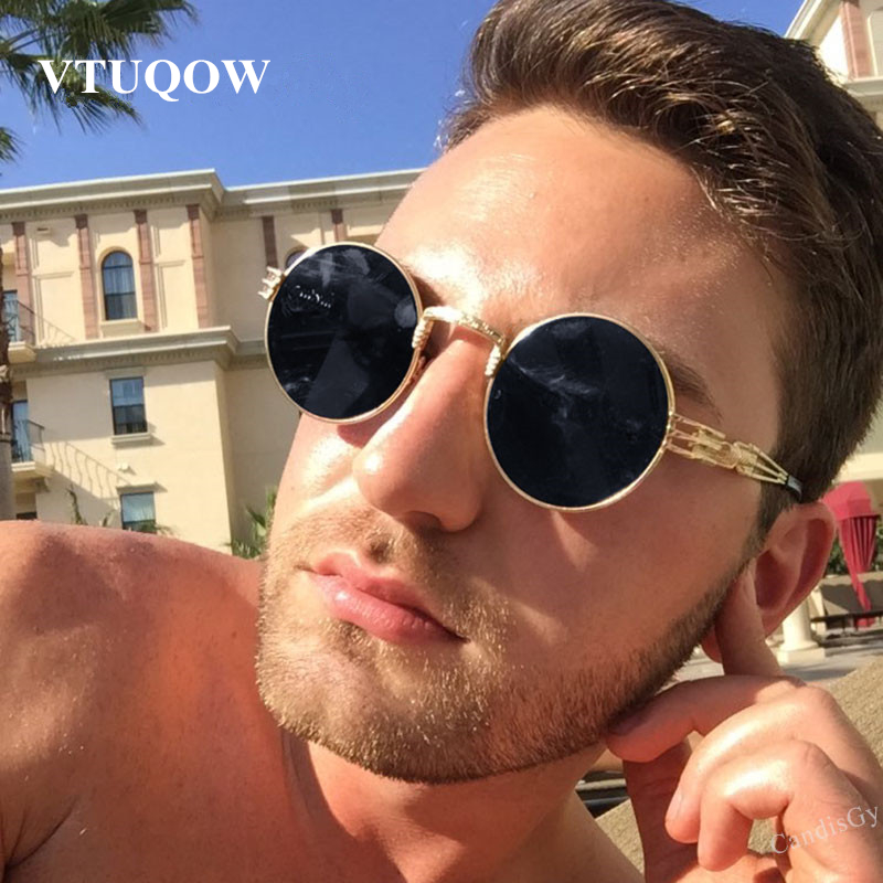 Luxury Round Sunglasses Men Brand Designer 2019 Vintage Couple Steampunk Women Sunglass Male Sun Glasses For Men Sunglass Mirror