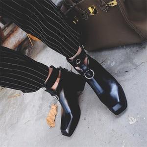 Image 5 - FEDONAS Frauen Stiefel Aus Echtem Leder Quadrat Heels Herbst Winter Stiefeletten Sexy Schnee Stiefel Schuhe Frau Schnallen Motorycle Stiefel