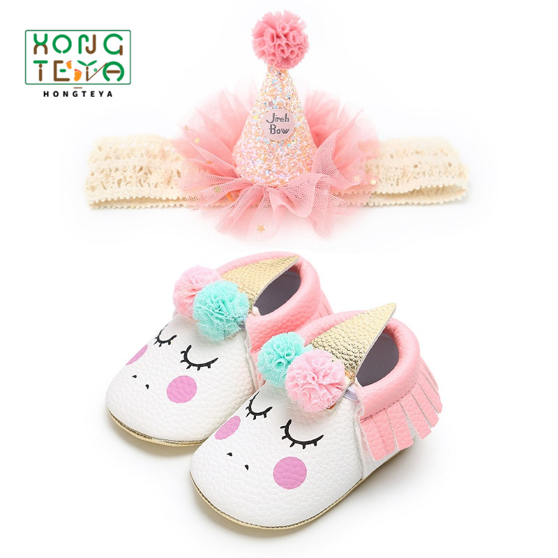Baby Shoes blush Angle Unicorn Baby Girl Soft Sole Shoes Party Dress Up Toddler Moccasins Prewalker First Walkers Newborn 2pcs/set Lace Top Hat Headband