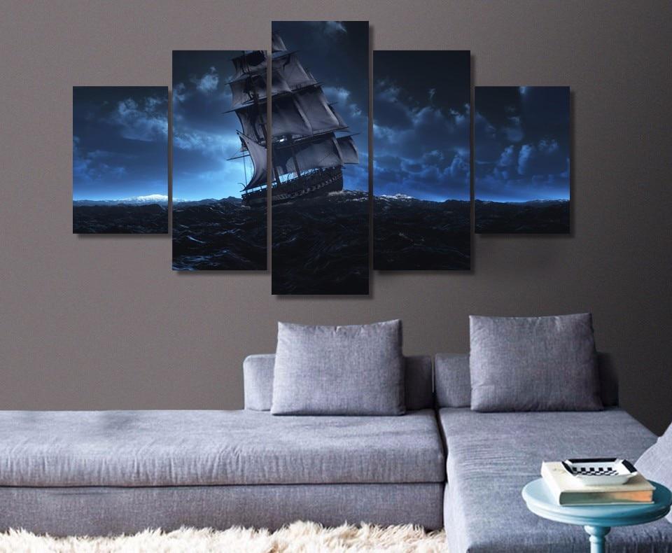 5 шт., парусиновые принты, Парусный корабль, морское путешествие, картина, настенная живопись, домашние панели, постер, фотографии для гостин