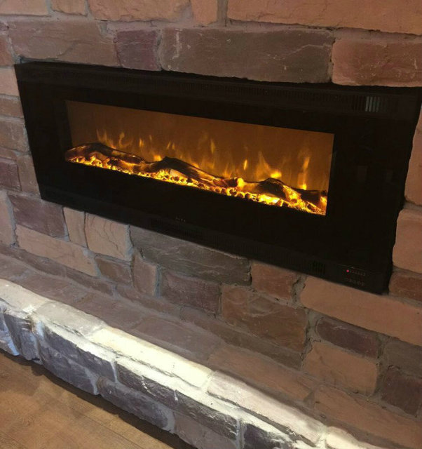 Indoor Cast Iron Electric Fireplace With Artificial Fire Flame
