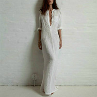 Spring Autumn Long Maxi Dress Women Long Sleeve Solid Cotton Linen Dresses Female Sexy V Neck
