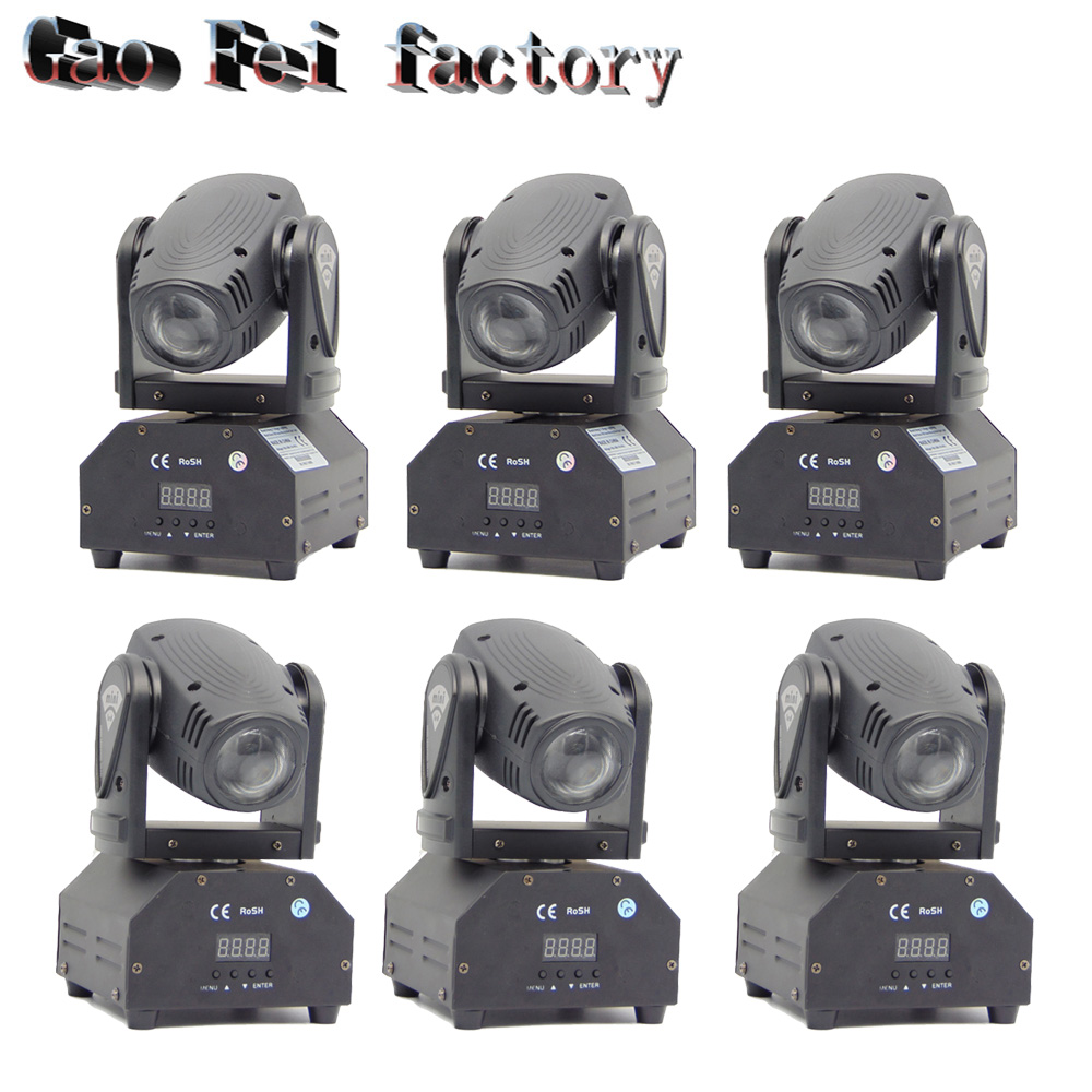 6pcs/lot 10W CREE RGB Mini Beam Light DMX512 Moving Head Light Professional DJ /Bar /Party /Show /Stage Light LED Stage Machine mini laser light r g color stage light dj bar party show stage light led stage machine