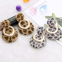 Winter Fur Leopard Round Long Drop Earrings for Women Fashion Gold Color Double Circles Square Geometric Za Earring Wholesale(China)