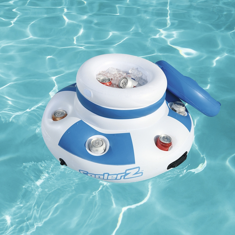 US $31.14 15% OFF|Dia 70cm Inflatable Round Floating Drink Cooler Icebucket  With 6 hole Cup Holders Swimming Pool Float Inflatable-in Air Mattresses ...