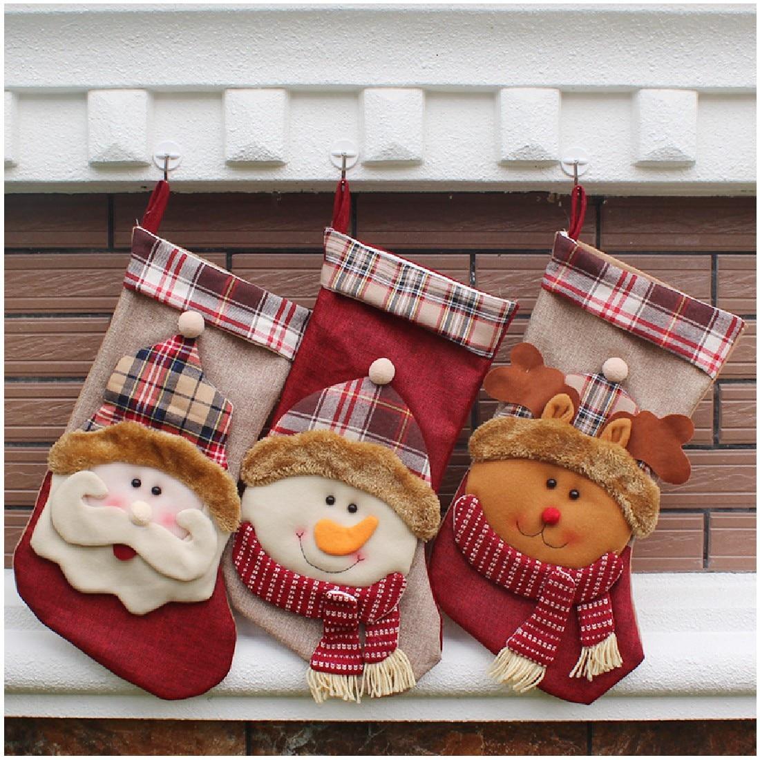 1pcs New Year 2016 Christmas Stockings Socks Santa Claus