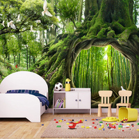 Custom Mural Wallpaper 3D Green Forest Landscape Fresco Cafe Children S Bedroom Living Room Background Wall
