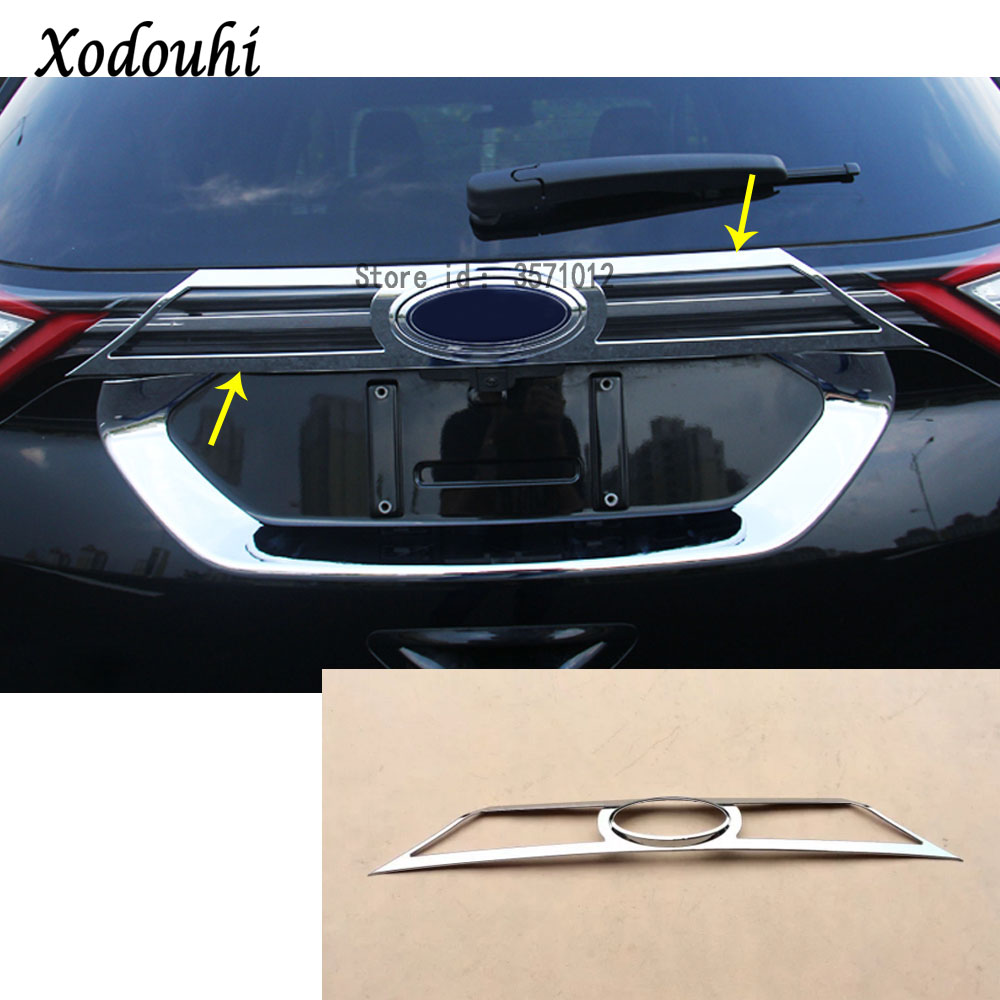 For Ford EDGE 2015 2016 2017 car cover auto body Rear back bumper cover ABS chrome Wrap license trim frame lamp panel 1pcs