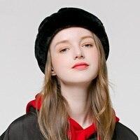 Для девочек вязаная теплая шапка зима теплая Сладкий зимняя шапка купол Ретро шляпа для отдыха для студентов меха Кепки утолщенной ухо защи...