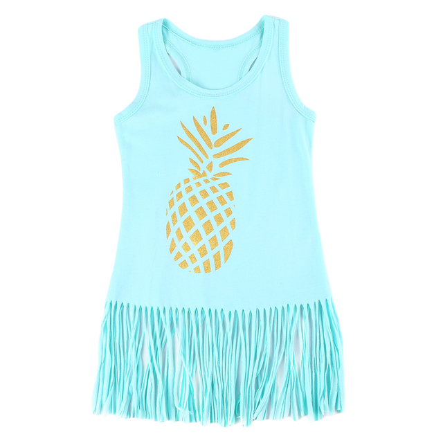 0 4Y Girl Mini Dress Pineapple Tassel Sleeveless Dresses Toddler Kid ...
