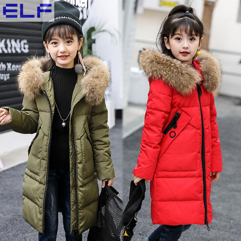 2018 Fur Hood Jacket for Girls Children Snow Wear Parka Thick down Winter Jacket for Children Christmas Winter Coat hai yu cheng winter parka men puffer jacket coat male thick trench luxury brand men windbreaker snow wear parka jacket l 188 07