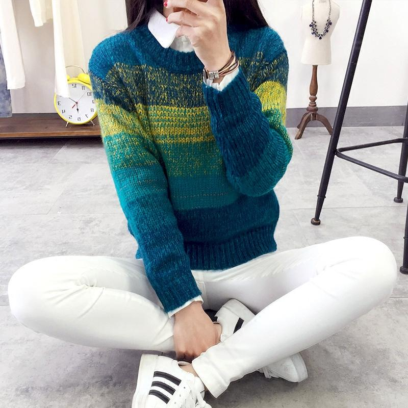 Discount women sweater Striped Christmas Sweater hedging female gradient plus Sexy sweater promotion women clothing