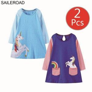 Image 2 - SAILEROAD 2 個動物アップリケガールズロングスリーブドレス 7 年の女の子服のエレガントなドレスパーティードレスユニコーンドレス